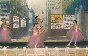 Members of the Detroit Ballet performing on the stage of the west side Dom Polski with the street scene visible in the background (May 15, 2005). Source: WSDPAHS archives, courtesy of Laurie A. Gomulka