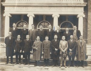 West Side Dom Polski exterior. Pictured: 17 members of one of the Dom Polski's founding societies, each of whom donated $25.00 towards the construction of the Dom Polski (ca. 1925). Top, third from left: Jacob Bobowski; fourth from left: Mr. Juszczyk; fifth from left: Valenty Janiczek; sixth from left: Louis Jonik; Bottom row: fourth from left: Mr. Ruchin; fifth from left: Joe Potzeba; sixth from left: Albert Sajdak.
