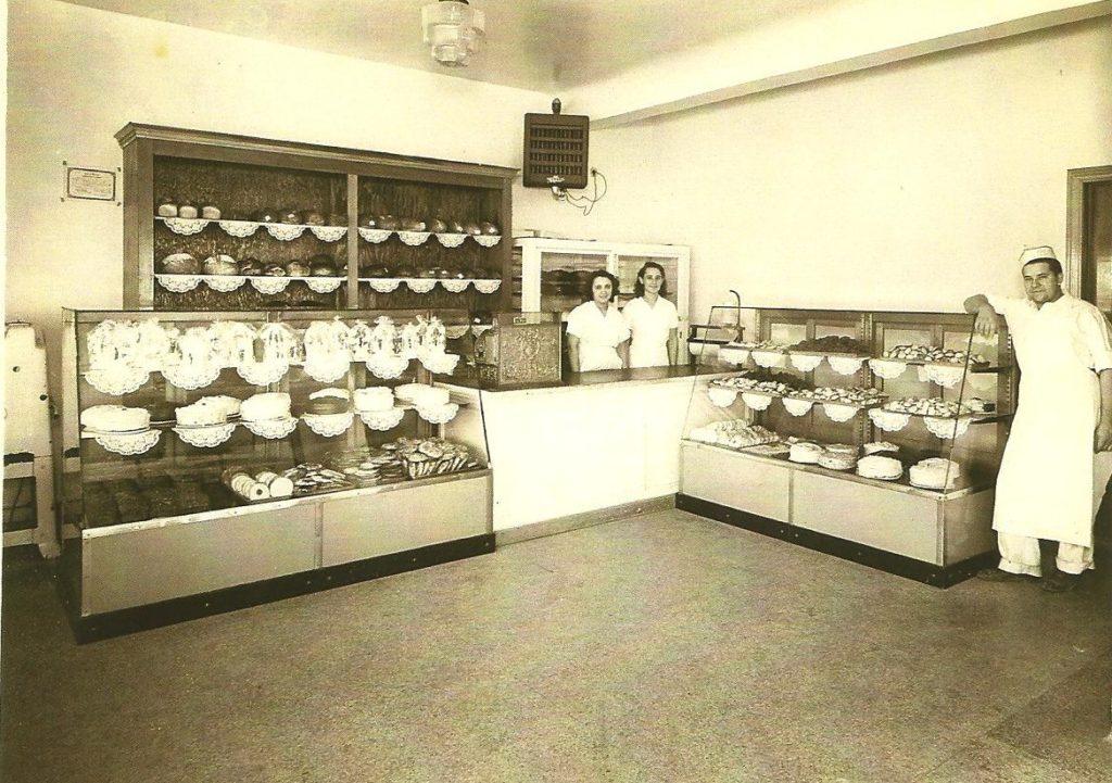 Rouge Park Bakery Interior, 1940; left to right: Frances Iglikowski, an employee, and Frank Iglikowski