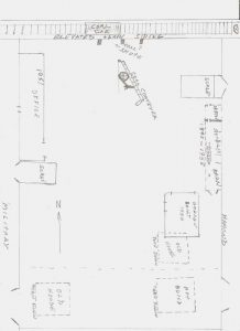 Hand-drawn diagram of Military Coal/Military Auto Parts Property (February 2020: Gary R. Martin Sr.)