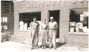 "Military Coal. Left to right: Roy Martin (co-owner), Virginia (""Dinny"") (nee Lee) Gomulka, and Stanley (""Chip"") Cipkowski (co-owner) (September 1952)"